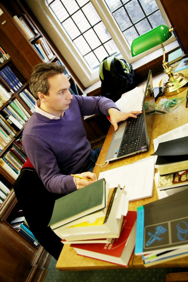 Student in Westcott library