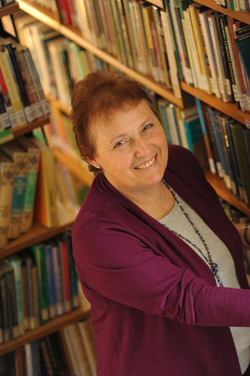 Photograph of Magda Fletcher in Ridley library