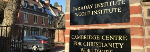 Gatepost showing signs for the Faraday Institute and CCCW